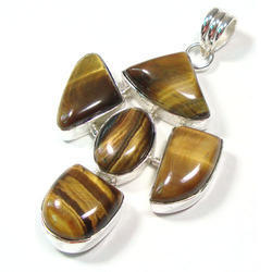 Tiger Eye Fancy Sterling Silver Pendant