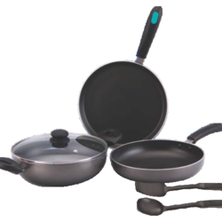 Aluminium Grey, Black Quba 4 Pieces Induction Based Non Stick Cookware Set, For Home