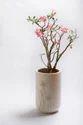 White Cylindrical Fiberglass Vertical Planter