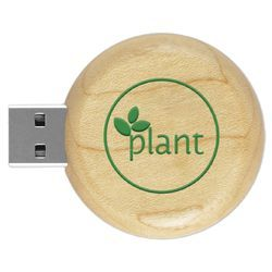 Round Wooden Pen Drive