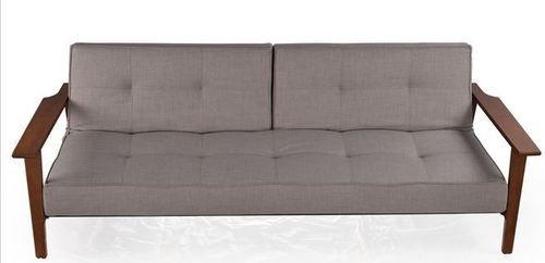 Tufted Sofa Bed With Wooden Arms