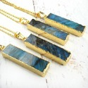 Labradorite Gold Rectangle Pendant Necklace