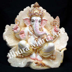 Painted Marble Ganesha Statue