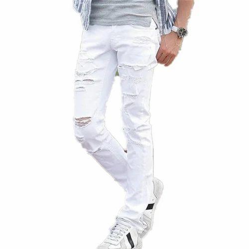 9b21a0865fd Mens White Ripped Jeans, Mens Rugged Jeans, पुरुषों की ...
