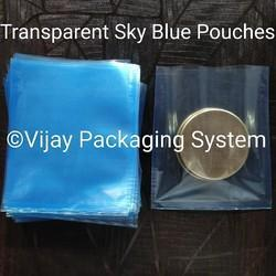 Transparent Sky Blue Polyester Laminated Pouches