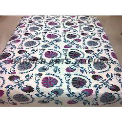 Cotton Suzani Embroidery Bed Cover Pan Design