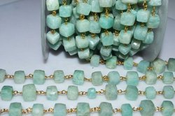 Amazonite Cubes Gold Wire Wrapped Rosary Beaded Chain