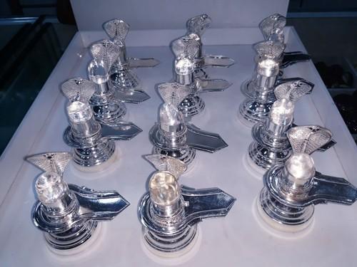 Original Sphatic Silver Shiv Lingam