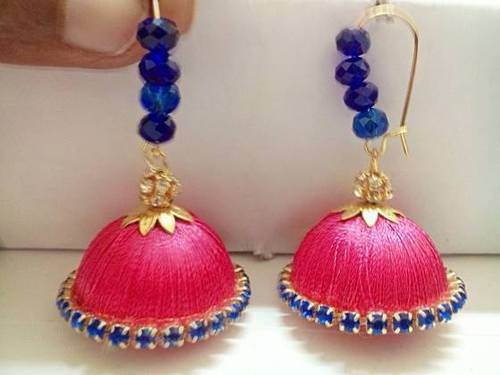 Silk Thread Jhumkas Set Pink And Blue Combo