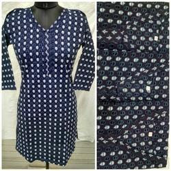 3/4th Sleeve Cotton Kurti, Size: L