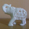 Beautifully Carved White Stone Elephant