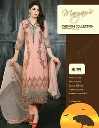 Party Wear Embroidery Work Chiffon Fabric Suit