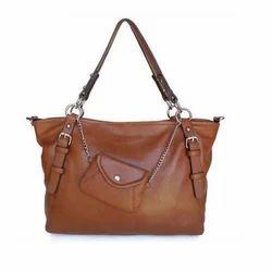 Plain Leather Brown Hand Bag