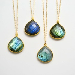 Labradorite Heart Bezel Set Pendant Necklace
