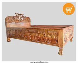 Bastar Art Teak Wood Single Bed