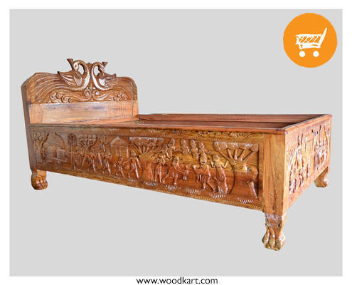 Teak Wood Bastar Art Single Bed Rs 30000 Unit Woodkart