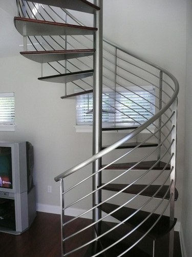 Delightful Straight Run , Dog Legged Stainless Steel Spiral Staircase