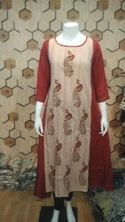 Round Neck Semi-Formal Cotton Kurti