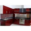 Shree Kitchens Cardinal Red Laminate Modular Kitchen, Base Unit Height: 34 Inches, Base Unit Depth: 24 Inches