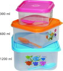 3 Piece Plastic Airtight Square Container Set