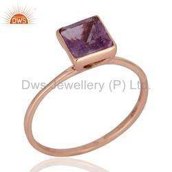 Amethyst Solid Gold Wedding Ring Jewelry