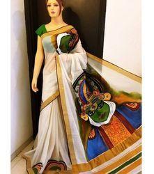 Hand Printed Kerala Cotton Saree