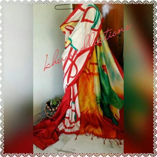 4808bb6c17 Bishnupur Sonamukhi Silk Hand Painted Saree, Size: 6.25 M, Rs 6665 ...