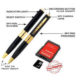 Gravity Black HD Spy Pen Camera / Hidden Camera with FREE shipping, For Security, CCD