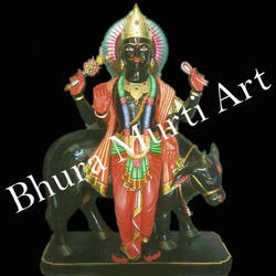 Black Marble Shani Graha Statue