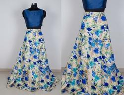 Blue Printed Designer Dresses Taffeta Silk With Satin Silk