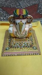 Marble Ganesh Chowki Statue