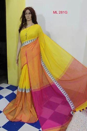 6e5a70782ee29d Modhubani khadi cotton orange and blue Khadi Cotton Saree, Construction  Type: Machine