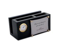 Desk Clock with Penstand and Card Holder