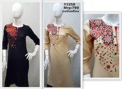Flex Kurta With Embroidery And Placket