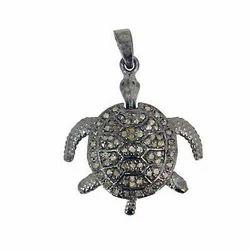 Diamond Pave Tortoise Pendant Charm