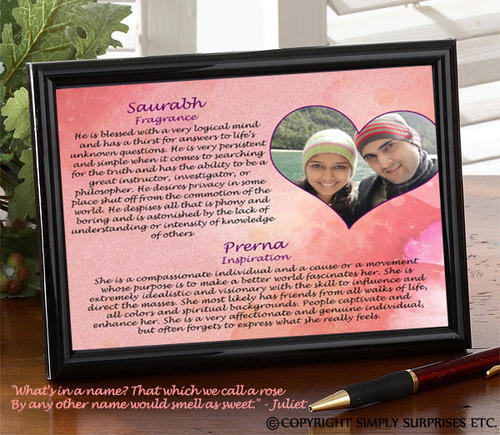 Name Meaning Photo Frame | Simply Surprises | Retailer in New Delhi ...