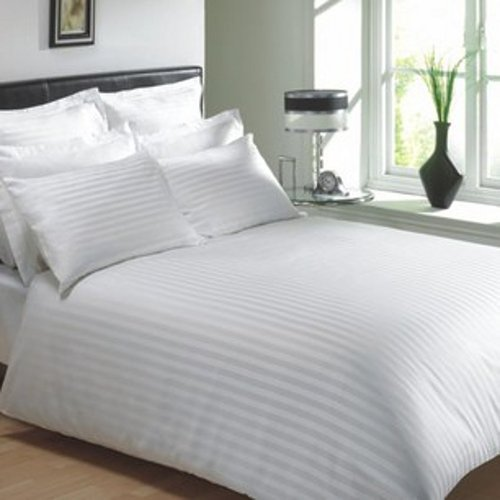 Delightful White Cotton Flat Bed Sheets With Satin Stripe