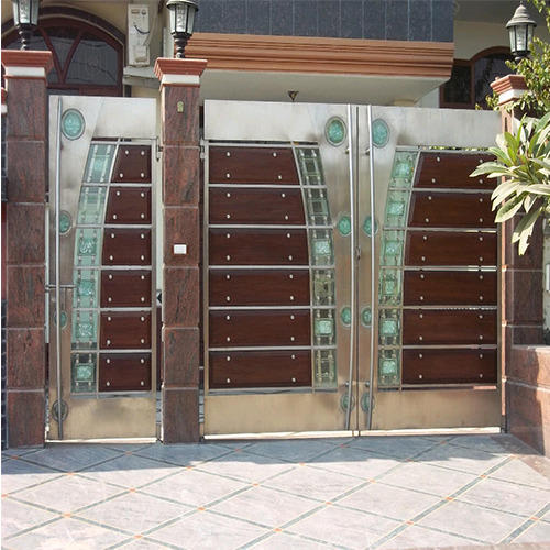 Luxmi Enterprises Palampur Stainless Steel: Steel And Wooden Gate At Rs 1200 /foot