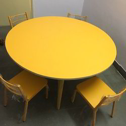 Yellow Wood Round Table With Chairs