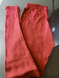 White And Red Magenta Wollen Lycra Stretchable Woolen Leggings, Size: Free Size