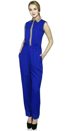 Cotton Party Wear Blue Girls Jumpsuits, Rs 335 /piece Indo Shine Industries    ID: 14614546591