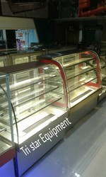 Stainless Steel White Steel AC Curved Display Counter