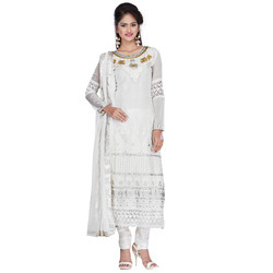 Embroidery, Semistiched White Georgette Dress- Jump Mile