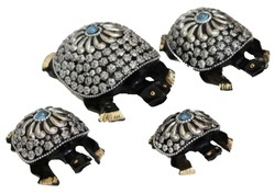 Wooden With Metal Beads Tortoise Family Set
