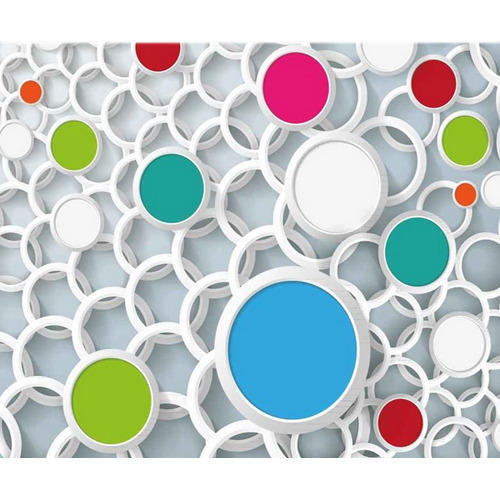 Multi Color Vinyl Non Woven D Wallpaper With Overlapping Circles Size As