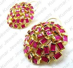 9a3a99a4a Party, Festival Designer Ruby Stone Carved Gold Plated Stud Earrings ...