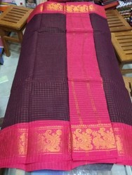 Block Printed Madurai Sungudi Cotton Sarees, Hand Made