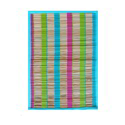 Rectangle Woven Yarn Dyed Banana Fiber Natural Cotton Mat, Mat Size: 33x45 Cms