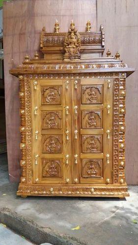 Divine Teak Wood Hand Carved Temple, Size: 7 x 4 x 1/2 feet