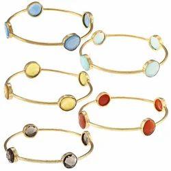 Gemstone Gold Bangle